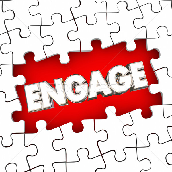 Engage Puzzle Pieces Solve Problem Participation Involvement Wor Stock photo © iqoncept