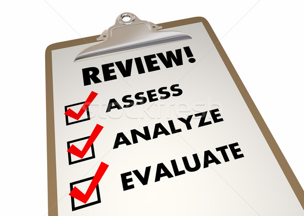 Review Clipboard Checklist Evaluation Words 3d Illustration Stock photo © iqoncept