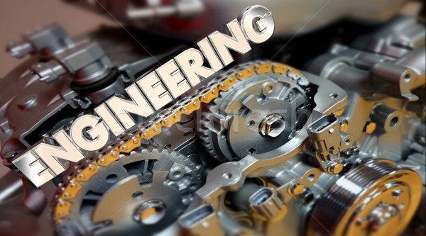 Inżynierii słowo silnika samochodu auto silnikowych Zdjęcia stock © iqoncept