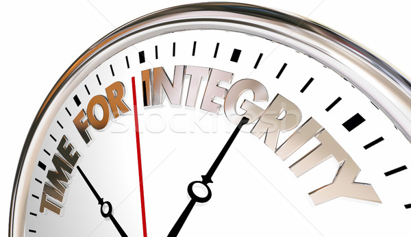 Time for Integrity Clock Honesty Trust Reputation 3d Illustratio Stock photo © iqoncept