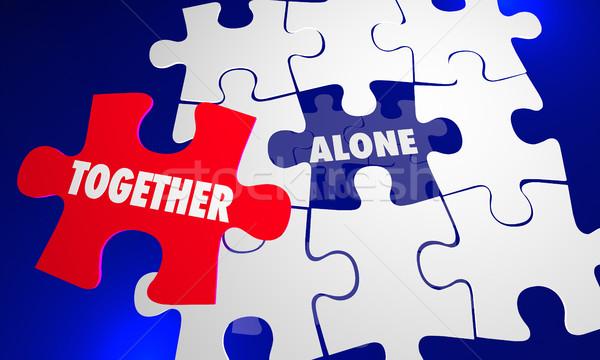 Samen vs alleen puzzel stuk werken Stockfoto © iqoncept