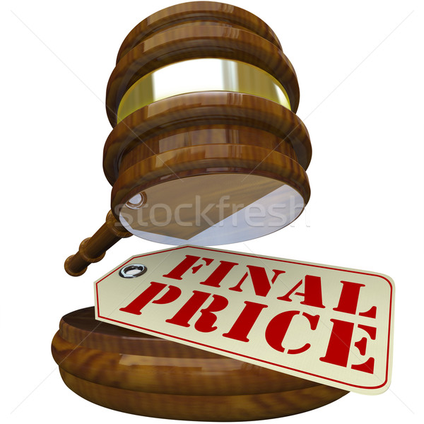 Final Price Gavel and Sale Tag for Auction Item Closing Bid Stock photo © iqoncept