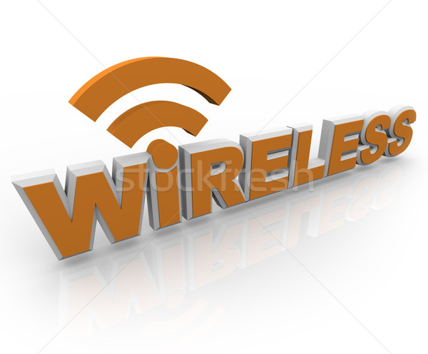 Wireless Word and Symbol - Mobile Connection Stock photo © iqoncept