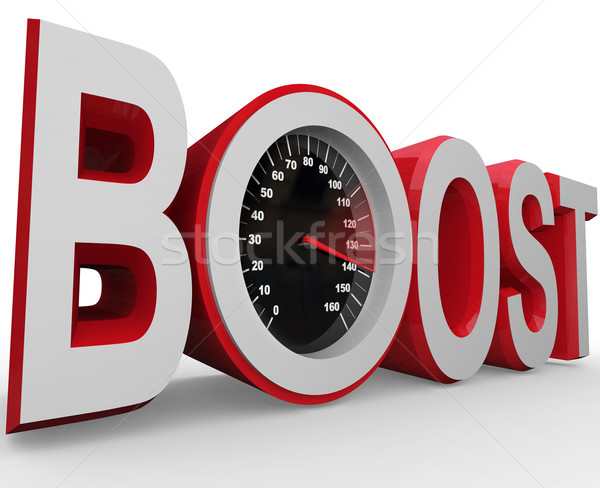 Boost Speedometer Measures Faster Speed of Improvement Stock photo © iqoncept