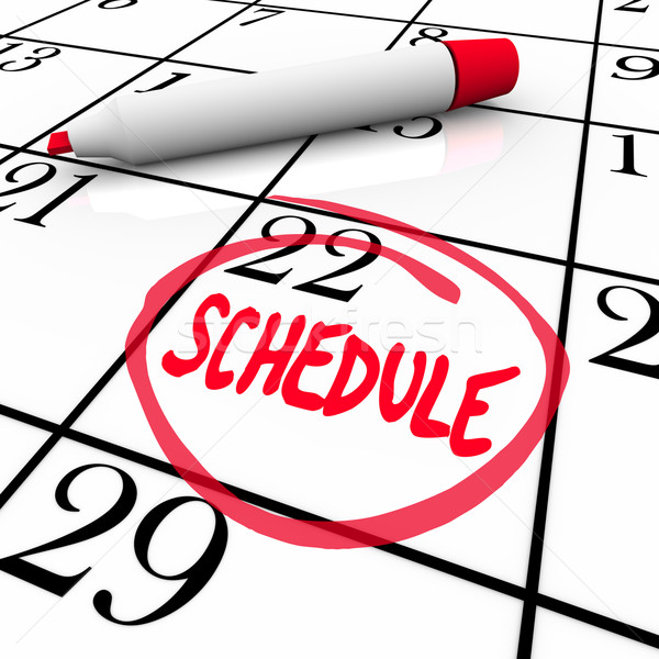 Schedule Word Circled on Calendar Appointment Reminder Stock photo © iqoncept
