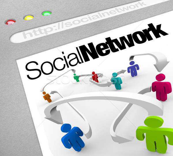 Social Network on Internet People Connected by Arrows Stock photo © iqoncept