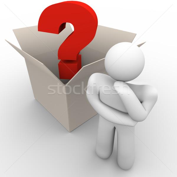 Kívül doboz gondolkodik férfi kérdés felirat Stock fotó © iqoncept