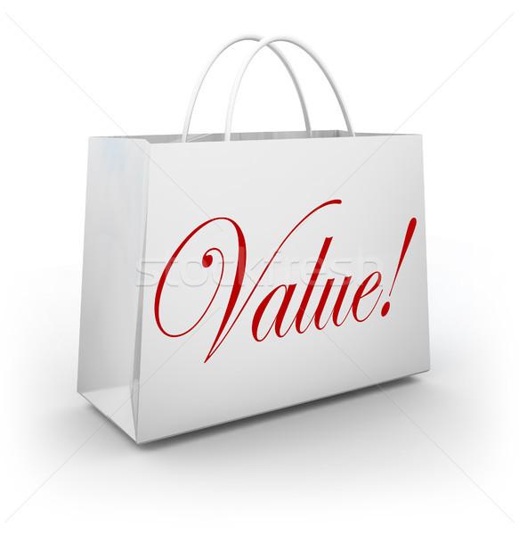 Wartość słowo torbę na zakupy specjalny wiele oszczędności Zdjęcia stock © iqoncept