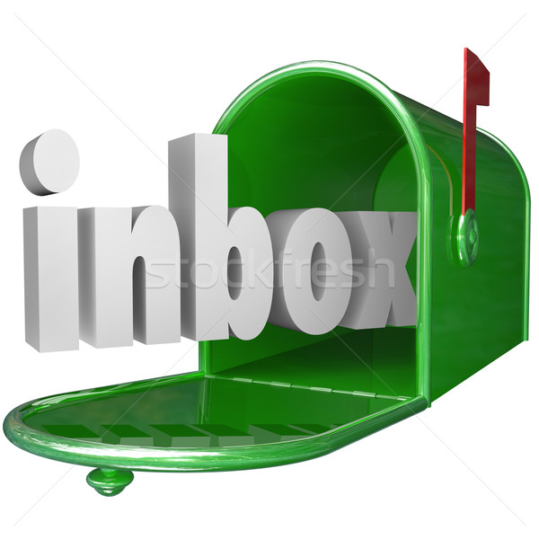 Inbox Word Green Mailbox Incoming Message Email Stock photo © iqoncept