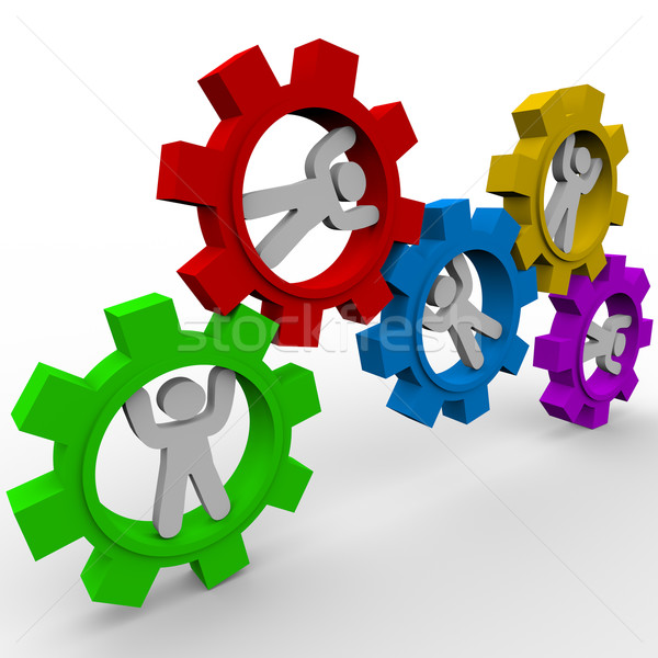 Stock photo: People Turning in Gears - Synergy