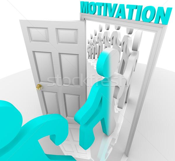 Motivatie deuropening lijn mensen stap kleur Stockfoto © iqoncept