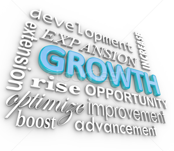 Growth 3d Word Background Collage Growing Rising Increase Stock photo © iqoncept