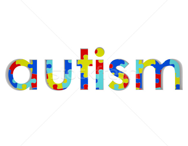 Autism Word Puzzle Piece Background Symbol Hope Research Stock photo © iqoncept