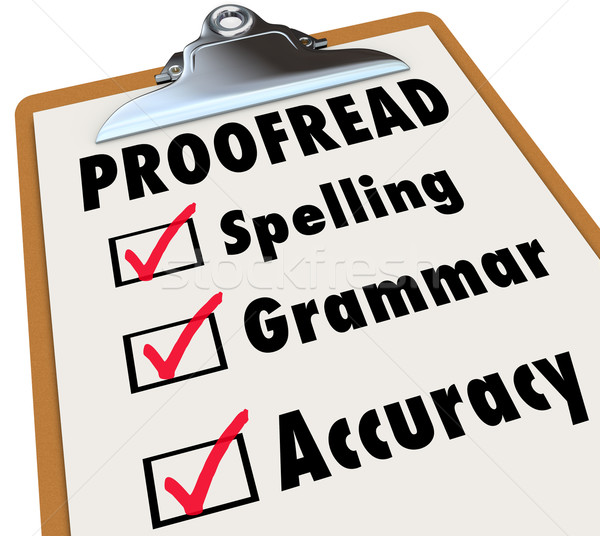 Stock photo: Proofread Clipboard Checklist Spelling Grammar Accuracy