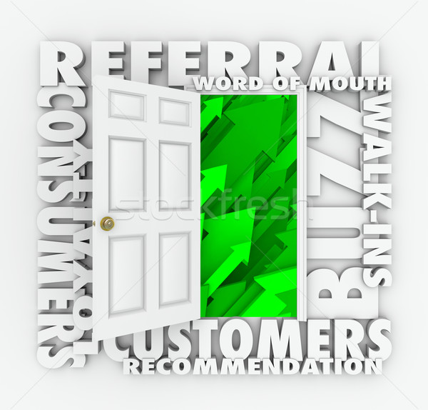 Referral Business Word of Mouth Customers Sales Growth Door Stock photo © iqoncept