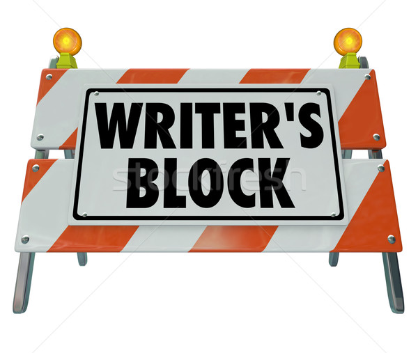 Stock photo: Writer's Block Words Road Construction Barrier Barricade