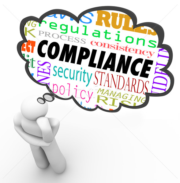 Compliance Thinker Thought Cloud Follow Rules Regulations Stock photo © iqoncept
