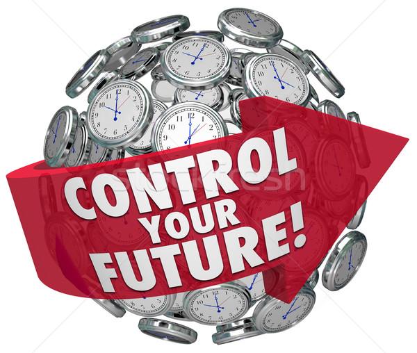 Controlar futuro palavras relógios para a frente progresso Foto stock © iqoncept