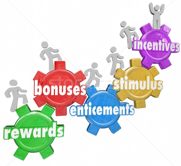 Incentives Rewards Bonuses Customers Workers Climbing Heigher Stock photo © iqoncept