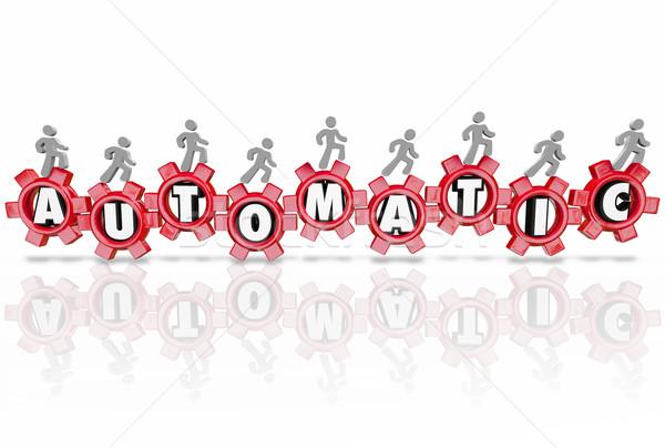 Automático pessoas engrenagens independente processo cartas Foto stock © iqoncept