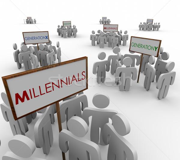 Jeunes groupes démographique autour signes Photo stock © iqoncept