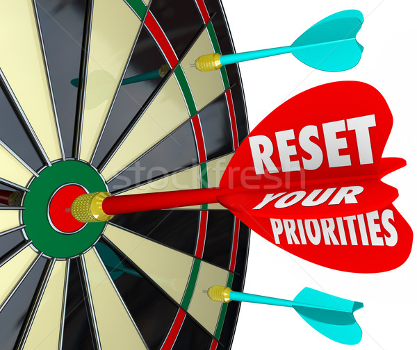 Reset Your Priorities Dart Board Changing Order Most Important J Stock photo © iqoncept