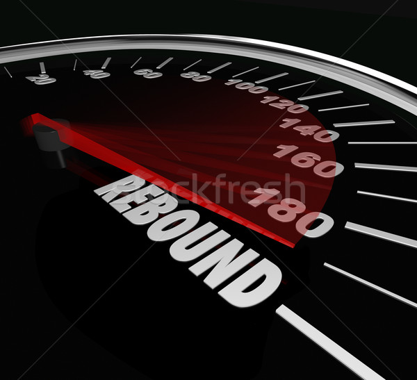 Rebound Speedometer Word Comeback Triumphant Return Victory Stock photo © iqoncept