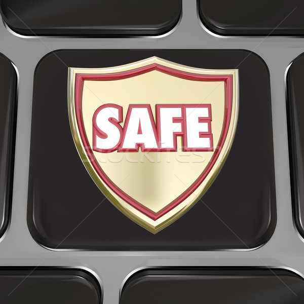 Safe Shield Computer Keyboard Key Button Virus Protection Stock photo © iqoncept