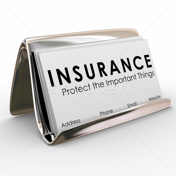 Insurance Policy Coverage Sales Agent Protection Business Cards Stock photo © iqoncept