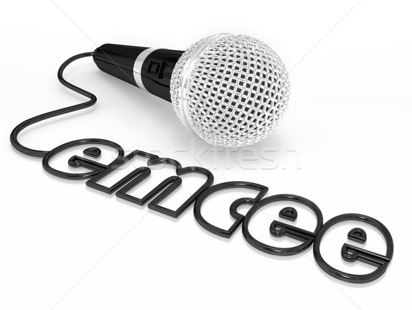 Emcee Microphone Cord Word MC Master of Ceremonies Host Duties Stock photo © iqoncept