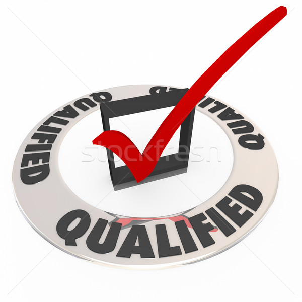 Qualified Check Mark Box Approved Accepted Good Experience Revie Stock photo © iqoncept