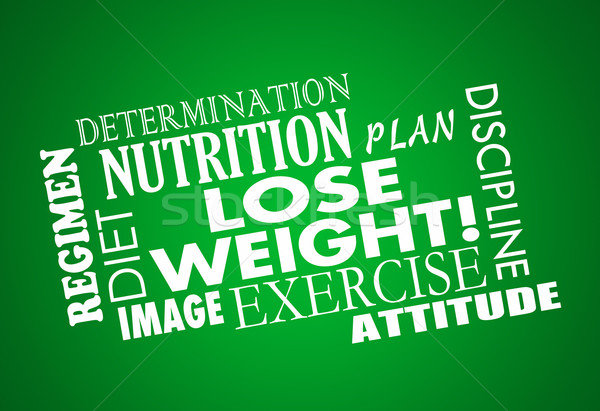 Lose Weight Diet Nutrition Plan Heath Care Word Collage Stock photo © iqoncept