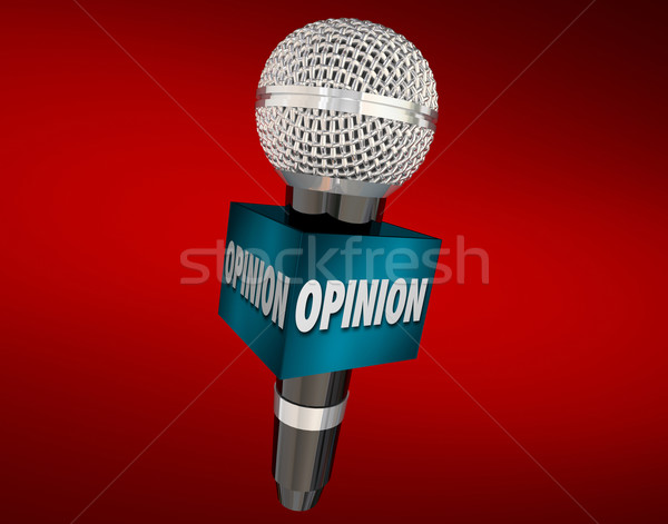 Opinion Microphone Cube Interview Comments Feedback Viewpoint Stock photo © iqoncept