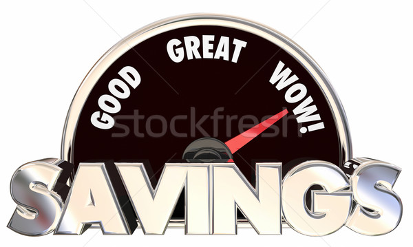 Savings Speedometer 3d Words Money Saved Best Prices Offers Stock photo © iqoncept