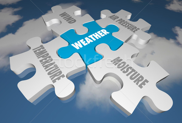 Weather Forecast Elements Words Puzzle Pieces 3d Illustration Stock photo © iqoncept