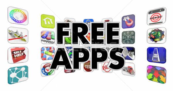 Gratis apps mobiele software store 3D Stockfoto © iqoncept