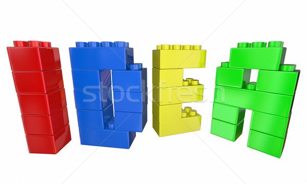 ötlet építőkockák épület levelek szó 3d illusztráció Stock fotó © iqoncept