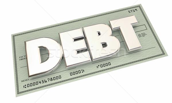 Dívida verificar dinheiro palavra ilustração 3d Foto stock © iqoncept