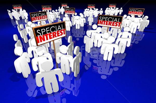 Special Interest Groups Signs People Lobbyists Politics Politica Stock photo © iqoncept