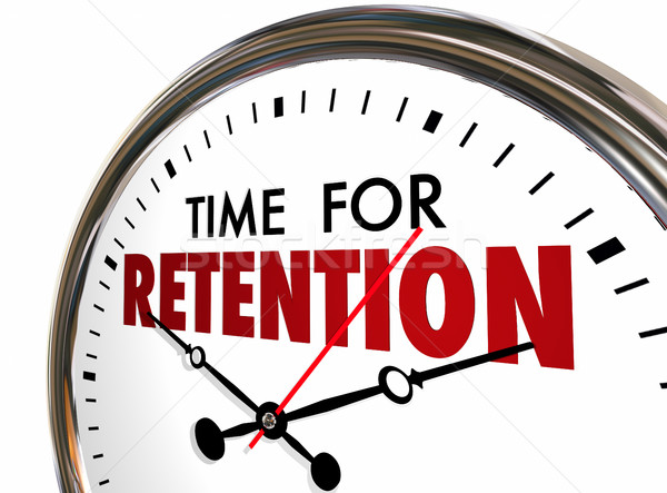 Time for Retention Clock Keep Hold Onto Customers Employees 3d I Stock photo © iqoncept