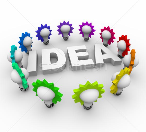 Idee woord veel kleurrijk witte Stockfoto © iqoncept