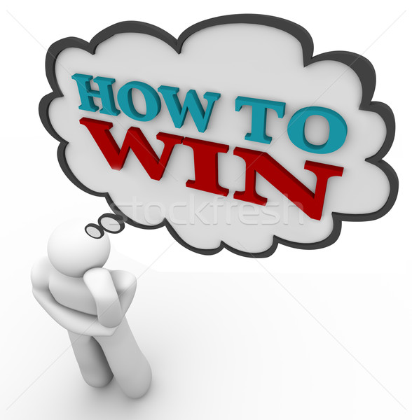 Person Thinks of How to Win Strategy Thought Cloud Stock photo © iqoncept
