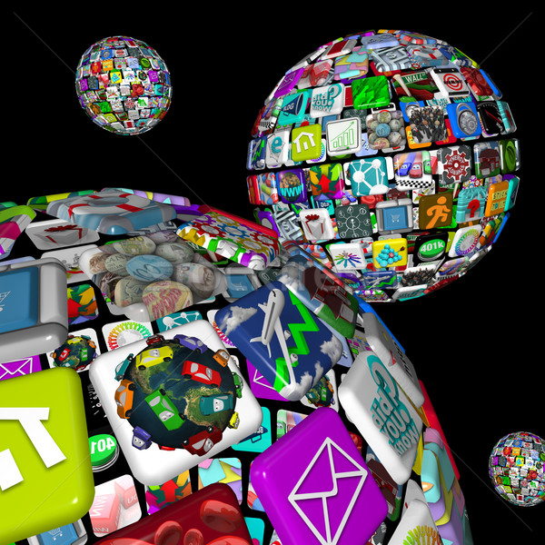 Galaxy of Apps - Several Spheres of Application Tiles Stock photo © iqoncept
