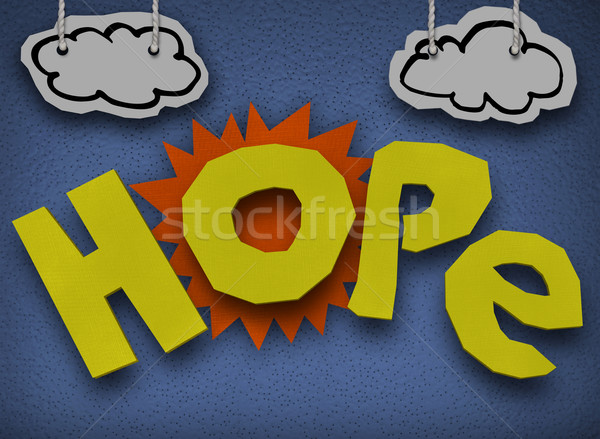 Hope Cardboard Diorama Word Sun Paper Cutout Stock photo © iqoncept