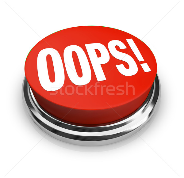 Stock photo: Oops Word on Big Red Button Correct Mistake