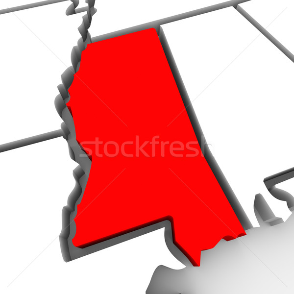 Mississippi Red Abstract 3D State Map United States America Stock photo © iqoncept