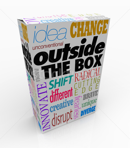 Outside the Box Words on Product Package Innovation Stock photo © iqoncept