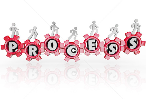 Process People in Gears Working Together Procedure Results Stock photo © iqoncept