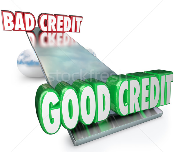 Good Credit Vs Bad See Saw Balance Scale Improve Rating Stock photo © iqoncept