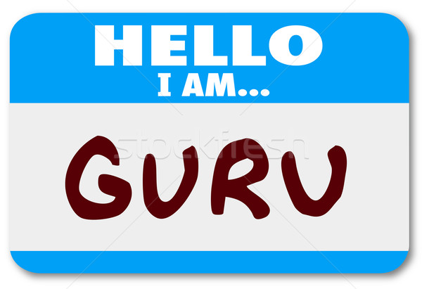 Guru Word Name Tag Sticker Teacher Guide Mentor Expert Stock photo © iqoncept